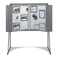 Straight Line Floor and Wall Display in Gray Metal
